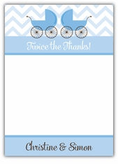 Twin Boys Precious Prams Baby Shower Thank You Note Card
