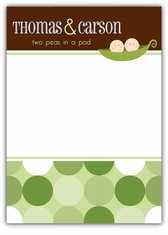 Twin Boys Two Peas in a Pod Baby Shower Thank You Note Card