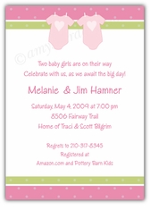 Twin Girls Onesies Baby Shower Invitation