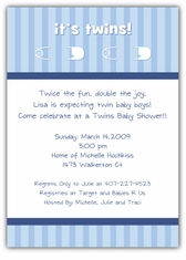 Twins Pins Boy-Boy Baby Shower Invitation