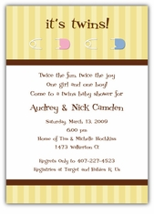 Twins Pins Girl-Boy Baby Shower Invitation