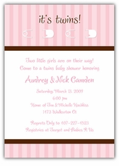 Twins Pins Girl-Girl Baby Shower Invitation