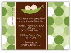 Two Peas in a Pod Twin Girls Baby Shower Invitation