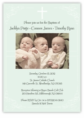 Vintage Swirl Girl Boy Triplets Baptism Invitation