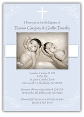 Vintage Swirl Twin Boy Baptism Invitation