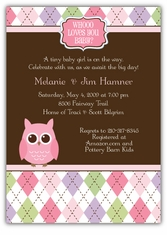 Whoo Loves You Baby Girl Shower Invitation, matches theme from Party City