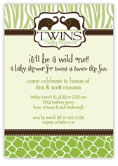 Wild Safari Girl Boy Twins Baby Shower Invitation