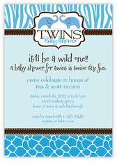 Wild Safari Twin Boys Baby Shower Invitation