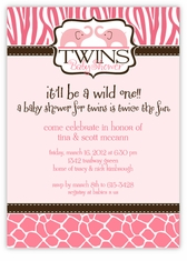 Wild Safari Twin Girls Baby Shower Invitation