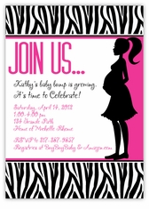 Zebra Animal Print Mod Momma Pink Baby Shower Invitation