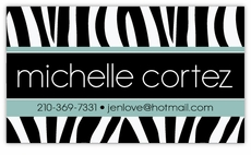 Zebra Print with Glacier Blue Calling Card