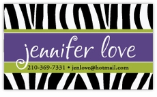 Zebra Print with Purple Calling Card