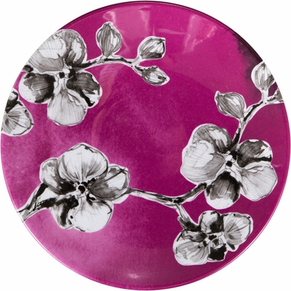 The Black Orchid 7-inch appetizer and dessert plate features a white orchid design on black melamine.