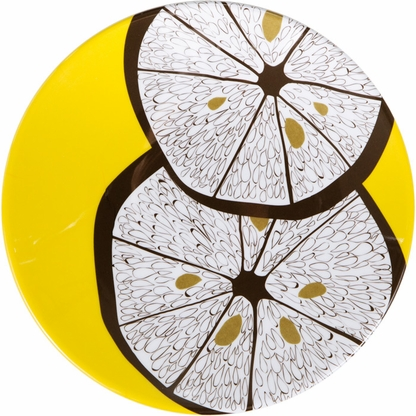 The 7-inch Lemonwood melamine appetizer and dessert plate features a white and gold lemon design on brown.