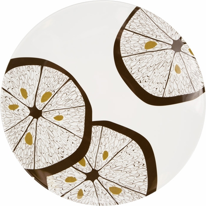A brown lemon slice design with gold accents decorates the white 11-inch Lemonwood melamine dinner plate.