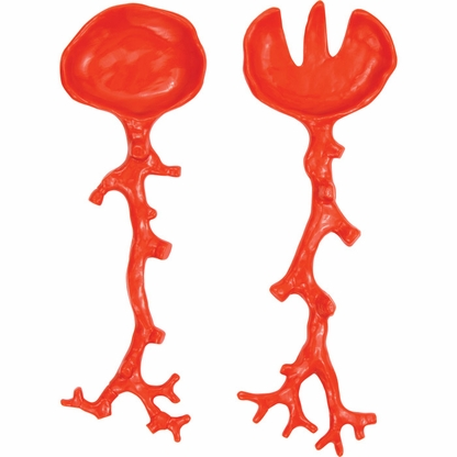 Opaque Orange Coral Salad Servers