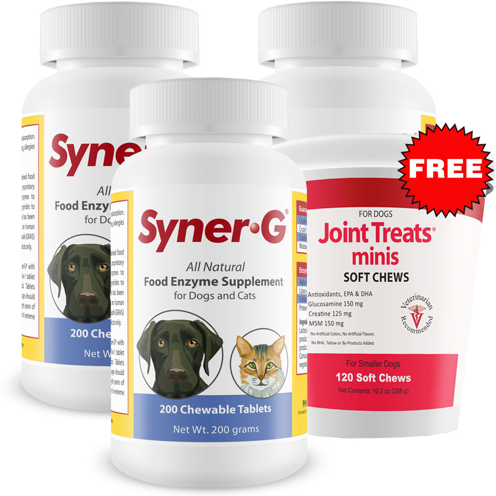 3 pack syner g digestive enzymes 600 tablets free joint treats minis 41