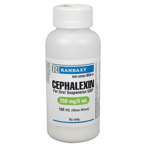 cephalexin oral suspension 250mg/5ml (100ml) (manufacture may vary), Skeleton