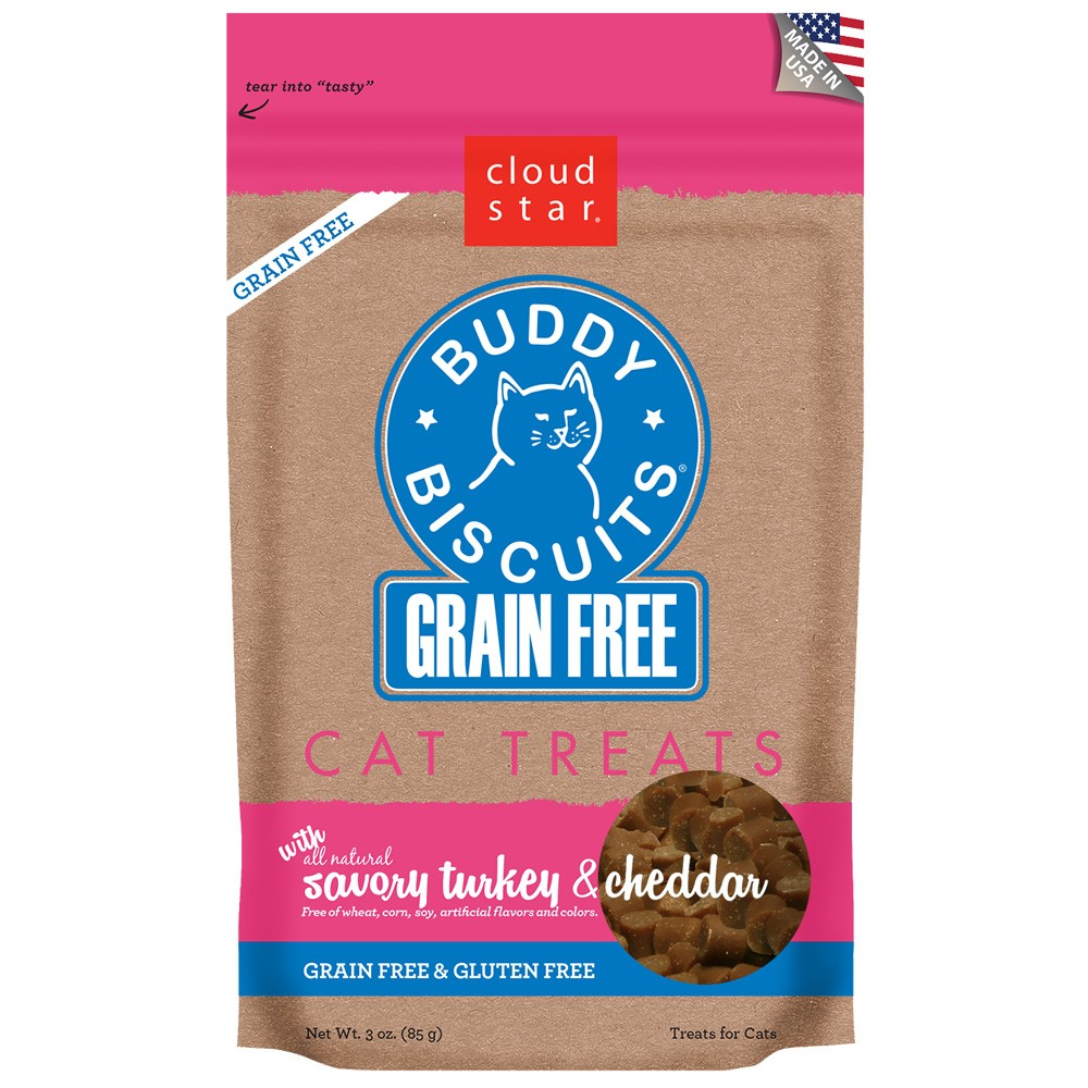 Cloud Star Grain Free Buddy Biscuits for Cats Savory Turkey & Cheddar (3 oz) CLOUD29110