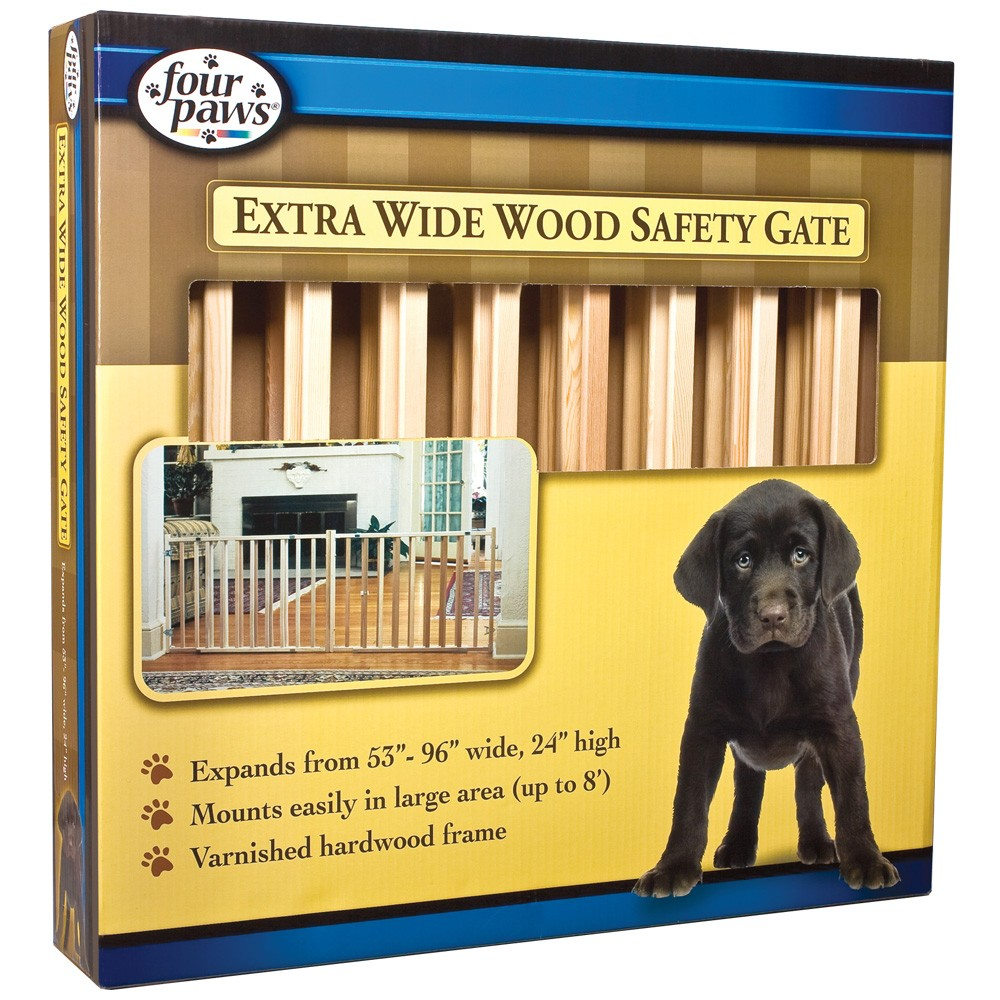 """Four Paws Extra Wide Wood Safety Gate (53-96"""" W x 24"""" H) FP57220"""