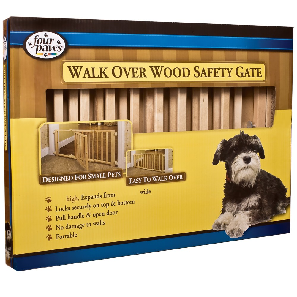 """Four Paws Walk Over Wooden Safety Gate ( 30-44"""" W x 18"""" H ) FP57218"""