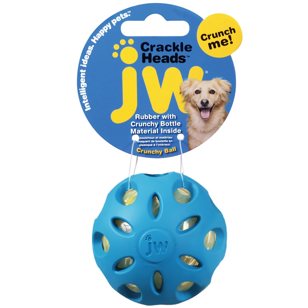 JW Pet Crackle Heads Crackle Ball Dog Toy - Large (Assorted) 47015
