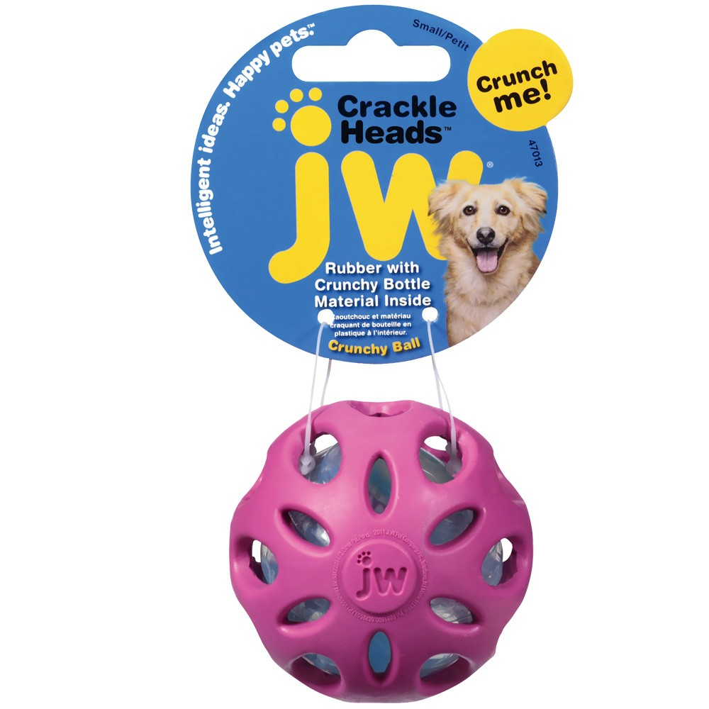 JW Pet Crackle Heads Crackle Ball Dog Toy - Small (Assorted) 47013