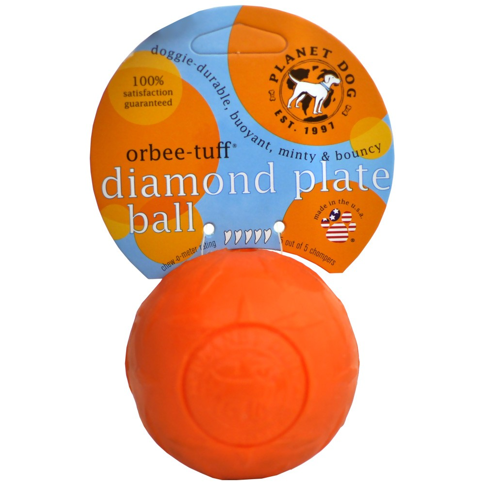 Planet Dog Orbee-Tuff Diamond Plate Orbee Ball - Orange 70096