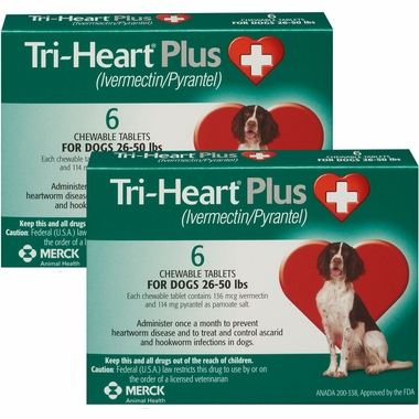 TriHeart Plus for Dogs 26 50 Lbs 12 Chew Tabs