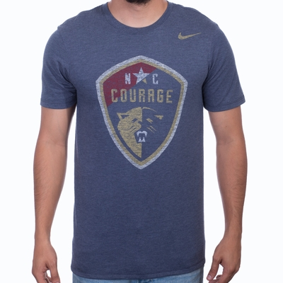 Men's Nike North Carolina Courage Distressed Crest Tee - Navy - Click to enlarge