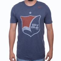 Men's Nike Sky Blue FC Distressed Crest Tee - Navy