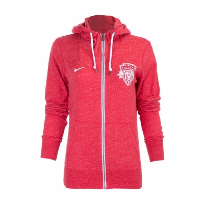 Women's Nike Washington Spirit Gym Vintage FZ Hoody - Red - Click to enlarge
