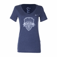 Women's Nike Washington Spirit Tri-Blend V-Neck Tee - Navy