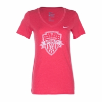 Women's Nike Washington Spirit Tri-Blend V-Neck Tee - Red