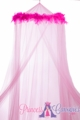 "Canopy ""Mimi"" Pink With Pink Feather Garland Mosquito Net"