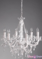 "Chandelier ""Aliana"" White & Crystal 6 Light  - 22"" x 17"""