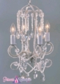 "Chandelier ""Julia"" 4 Light Beaded Crystal Hanging Lamp - Silver and Crystal"