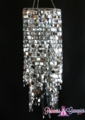 "Chandelier ""Kalina"" 23.5"" x 9"" - Silver Squares & Crystals!"