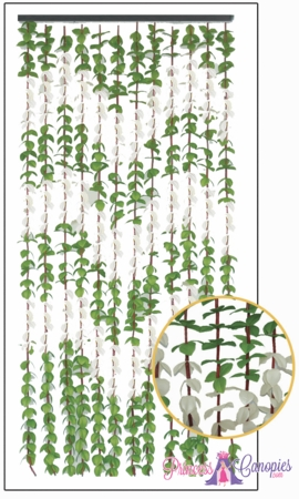 Coming Soon - FabuLush Fabric Flowers Curtain - Green & Cream - 35.5