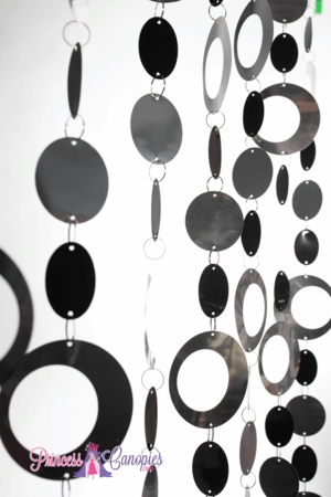 Hoops Silver & Black Beaded Curtain