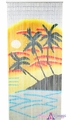 Sunset Palm Scene Painted Bamboo Curtain