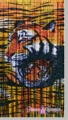 Tiger Mom and Cub Bamboo Painted Beaded Curtain