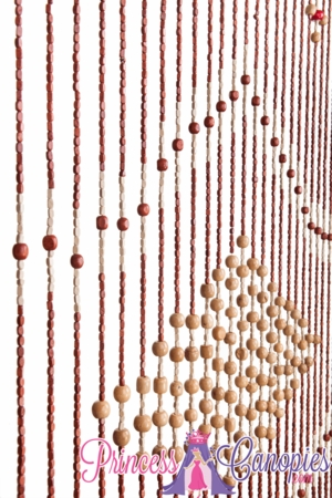 Wooden Bead Curtain - Genie - Tan Center - 35.5