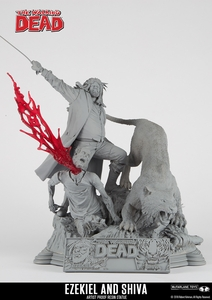 The Walking Dead Comic: Ezekiel and Shiva (Unpainted Artist Proof) Resin Statue McFarlane Collectors Club Exclusive