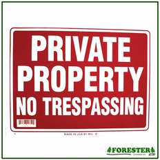 "16"" X 12"" Private Property No Trespassing Plastic Sign - #B19"