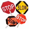 """24"""" Dia. Stop/Slow Traffic Paddle - 6"""" Pvc Handle With 9"""" Grip. Part #9551"""