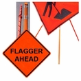 """Forester 48"""" Vinyl Professional Grade Work Sign - Flagger Ahead"""