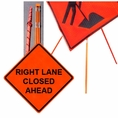 "Forester 48"" Vinyl Professional Grade Work Sign - Right Lane Closed"