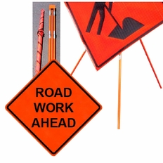 "Forester 48"" Vinyl Professional Grade Work Sign - Road Work Ahead"
