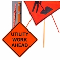 "Forester 48"" Vinyl Professional Grade Work Sign - Utility Work Ahead"